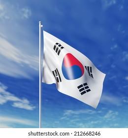 Waving South Korean flag against cloudy sky. High resolution  render.