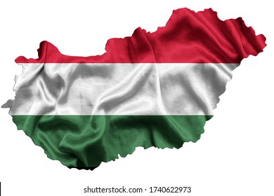 Waving textile flag of Hungary fills country map. White isolated background, 3d illustration.
