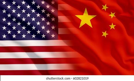 Waving USA and China Flag