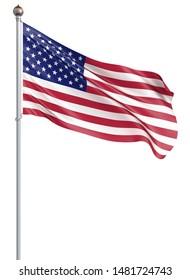Waving USA flag. 3d illustration for your design. - 3d Illustration.