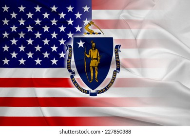 Waving USA and Massachusetts State Flag