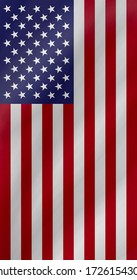 The waving vertical national flag of the United States of America, the stars and stripes icon background, design waving USA hanging flag pattern texture wallpaper