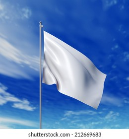 Waving white flag against cloudy sky. High resolution  render.
