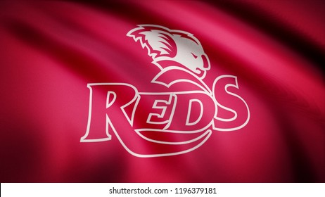 Waving in the wind flag with the symbol of the Rugby team the Queensland Reds. Sports concept. Editorial use only