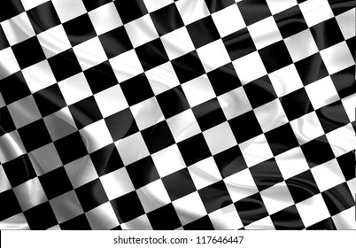 Waving Winning Race Flag with Black and White Checker Board Pattern