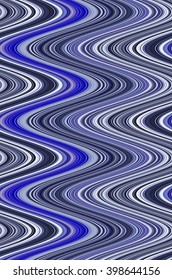 Wavy abstract of many thin, contiguous, vertical S-curves, mostly shades of blue, for decoration or background with motifs of fluidity or repetition
