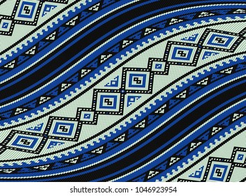 Wavy Blue Sadu Traditional Bedouin Rug Pattern Background.jpg