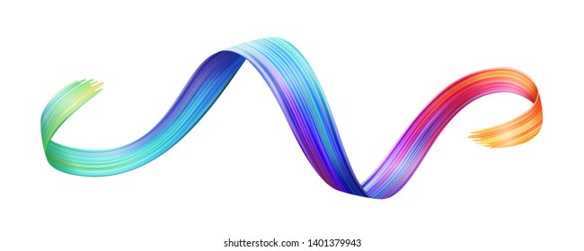 Wavy colorful brushstroke or curvy ribbon shape of brush paint, backdrop texture made with felt-tip pen, watercolor trace or abstract colourful smear, isolated background template design