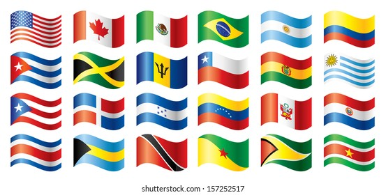 Wavy flags set - America. 24 Vector flags.