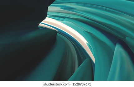 Wavy fluid flow abstract background. Futuristic organic shapes backdrop. Colorful poster slide cover. Nature, Antelope canyon inspired. White, green gradient