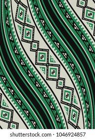 Wavy Green Sadu Traditional Bedouin Rug Pattern Background