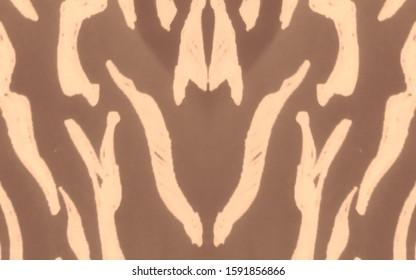 Wavy Grunge Tiger Print.  Royal Bengal Tiger. Brown, Yellow Animal Skin Sketch. Milk Chocolate Dirty Art Illustration. Tiger Texture. Zebra Ornate Background. Fashion Leo Stripes Pattern.