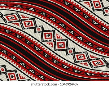 Wavy Red Sadu Traditional Bedouin Rug Pattern Background