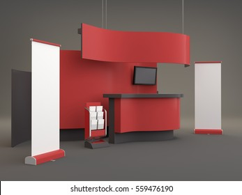 wavy stand mock-up template. 3D rendering