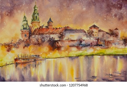 Wawel castle over Vistula river in Krakow,Poland.  Picture created with watercolors.