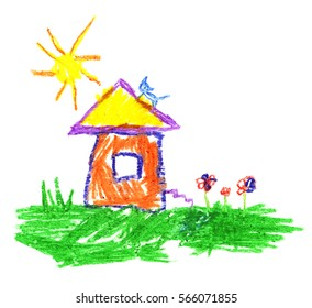 Wax crayon like child`s hand drawing house, cat, sun and grass. Pastel chalk like kid`s hand painting cute illustration on white.