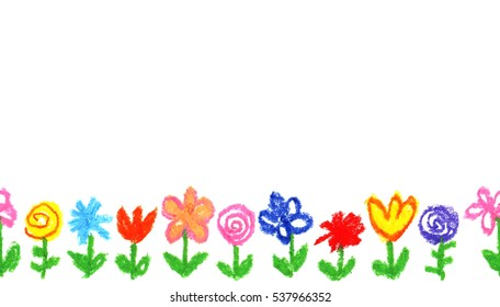 Wax crayon like kid`s drawn colorful flowers white. like child`s drawn pastel chalk blooming flowers set. Cute of kid`s like painting spring flowering meadow. Hand drawing background banner border.
