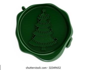 Wax green christmas tree