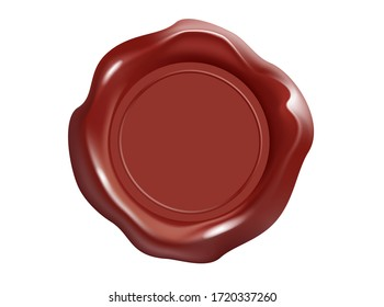 Wax seal. Candle stamp objects vector illustration. Wax stamps isolated on white background. For letters, parcels, documents. 3D illustration.