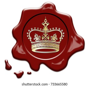 Wax seal with crown stamp on white