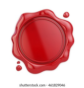 Wax seal isolated on white background. 3d illustration