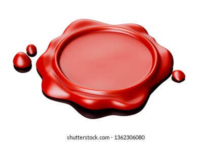 Wax seal red. Isolated on white background. 3d renderin illustration