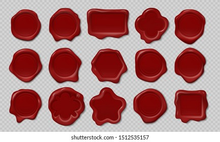 Wax stamp. Old embossed envelope label, heart triangle round royal medieval mockup cartoon shapes. realistic candle wax seals