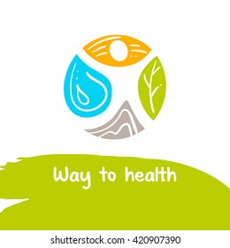 Way to health. Template logo. Treatment and rest. Logo for the sanatorium of the resort. Therapy natural lmedicine. Human and nature. Health recovery.