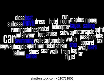 Way to travel, and words regarding travel, word cloud