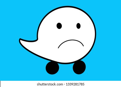Waze Sad face white ballon with tail and wheels. Navigation Concept art / illustration