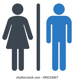 WC Persons icon. Glyph style is bicolor flat iconic symbol, smooth blue colors, white background.