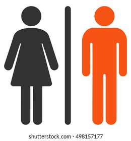 WC Persons icon. Glyph style is bicolor flat iconic symbol, orange and gray colors, white background.