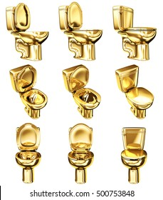 WC toilet made of gold. Set of 3d images isolated on white.
