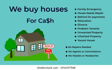 We buy houses for Cash image. We are looking for properties ad.