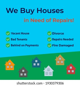 We buy houses in need of repairs image on a blue and green background. Ad template for advertising.