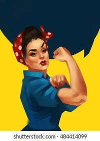 We Can Do It. Iconic woman's fist/symbol of female power and industry. Modern design inspired by classic american poster.