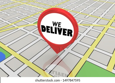 We Deliver Location Restaurant Service Map Pin 3d Illustration