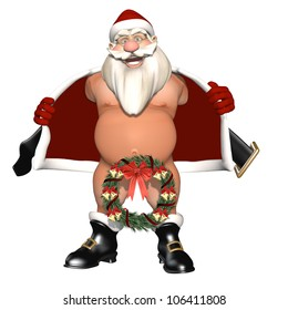 We Hang Ours on the Door: Santa opening his coat to flash. Not wearing pants, nether region hidden by a wreath. Isolated on white. Bah Humbug Series