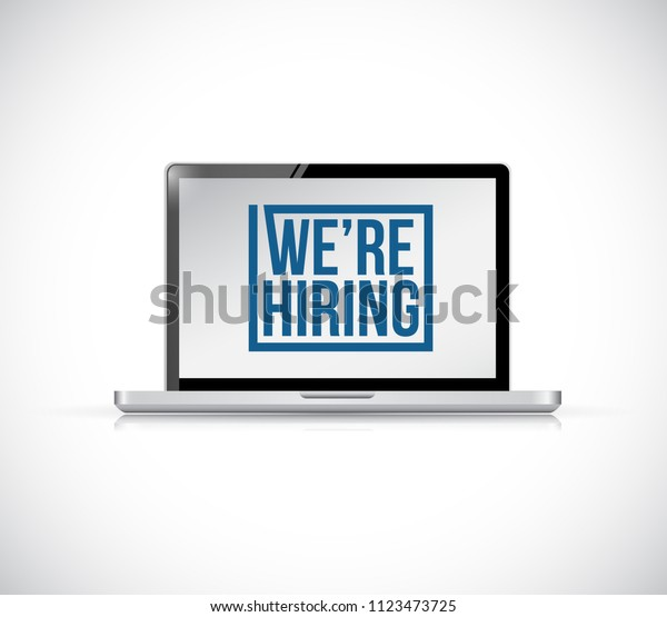 we are hiring laptop vector illustration sign. isolated over a white background