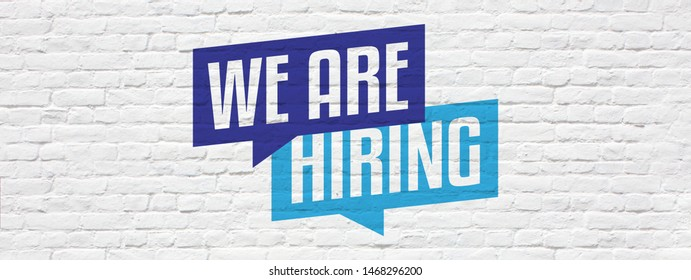We are hiring on brick wall banner