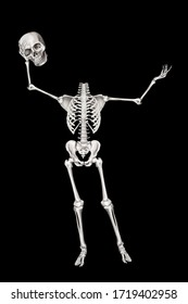 We salute you. Human skeleton welcomes taking off his skull. Positive clip art for Halloween greetings design