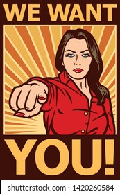 we want you vector poster - pop art woman pointing at you