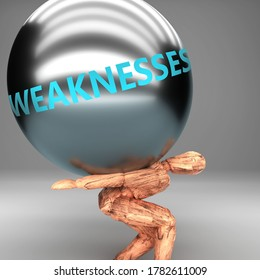 Weaknesses as a burden and weight on shoulders - symbolized by word Weaknesses on a steel ball to show negative aspect of Weaknesses, 3d illustration