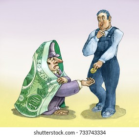 A wealthy banker covered by a banknote asks alms to a poor perplexed worker