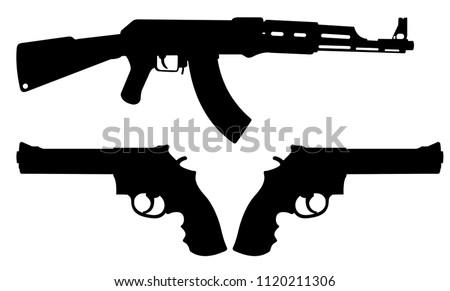 royalty free stock illustration of weapon ak 47 revolver pistol