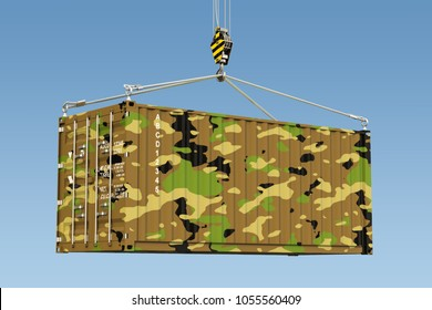 Weapon Delivery concept. Military container hanging on the crane hook against blue sky, 3d rendering