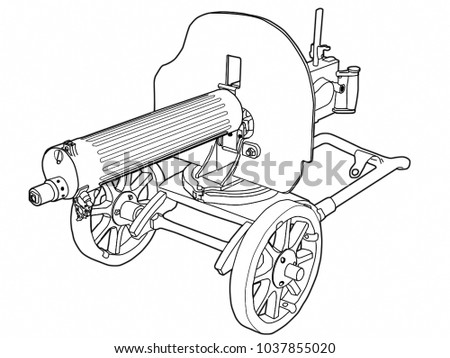 weapon old machine gun stock illustration 1037855020 shutterstock 18th Century Civilian Clothing old machine gun