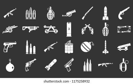 Weapons ammunition icon set white isolated on grey background