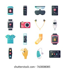 Wearable tech gadgets flat icons set with augmented reality glasses smartwatch and fitness tracker isolated  illustration