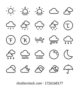 Weather 1 Icons Outline Style for Any Purpose